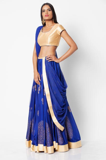 Gold and blue lehenga from the Rohit Bal for Jabong collection