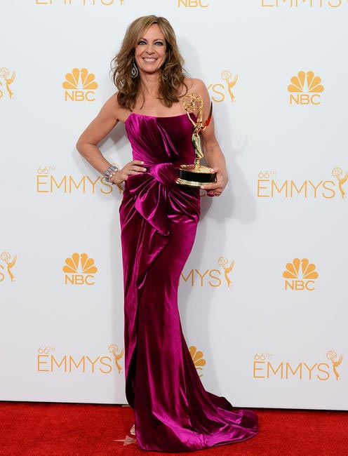 Allison Janney poses with the award for Outstanding Supporting Actress in the press room at the 66th Annual Primetime Emmy Awards at jpg
