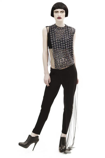 Embellished sheer blouse, skinny fit trousers, Rohit Gandhi + Rahul Khanna