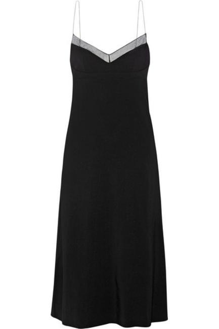 Karlyn Chiffon-Trimmed Stretch Crepe Dress, Calvin Klein Collection