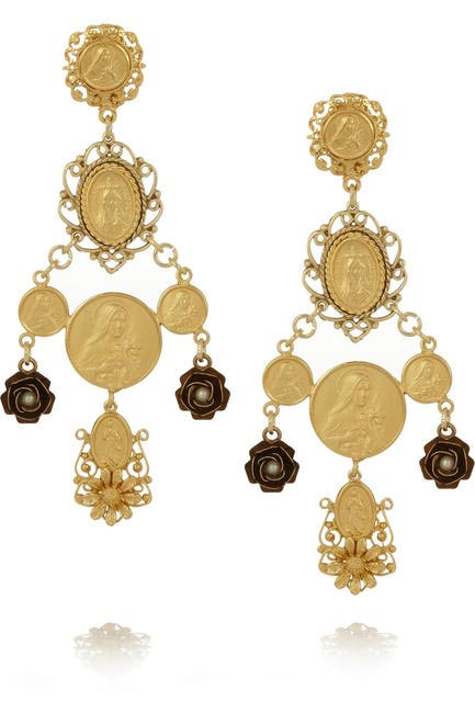 Madonne gold-plated earrings, Dolce & Gabbana