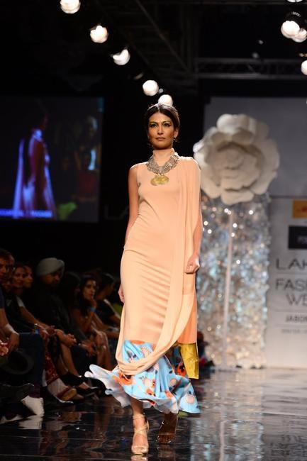 Multi-print dress with dupatta