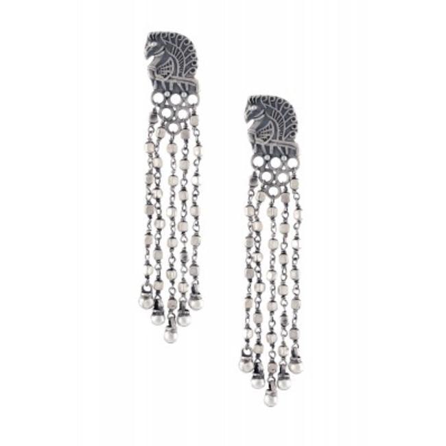 Silver Peacock Bead Earrings by Amrapali
