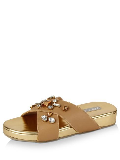 Cross Front Embellished Sliders, Koovs, INR 1,895