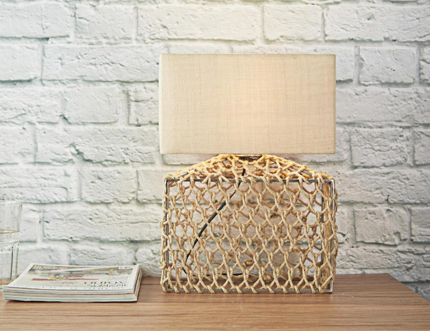 Jute lamp base and shade, both thehomelabel.com, INR 2,750 and INR 1,250 respectively