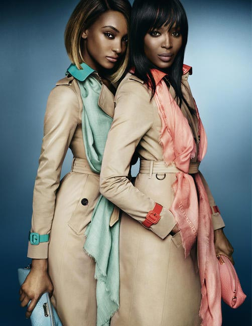 Supermodels Naomi Campbell and Jourdan Dunn for Burberry