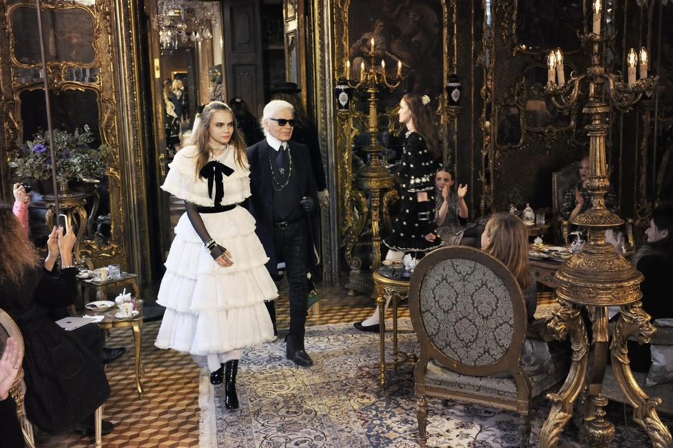 The Chanel bride Cara Delevingne with Karl Lagerfeld