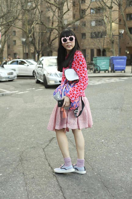 Blogger Susie Bubble as seen at London Fashion Week AW 2014