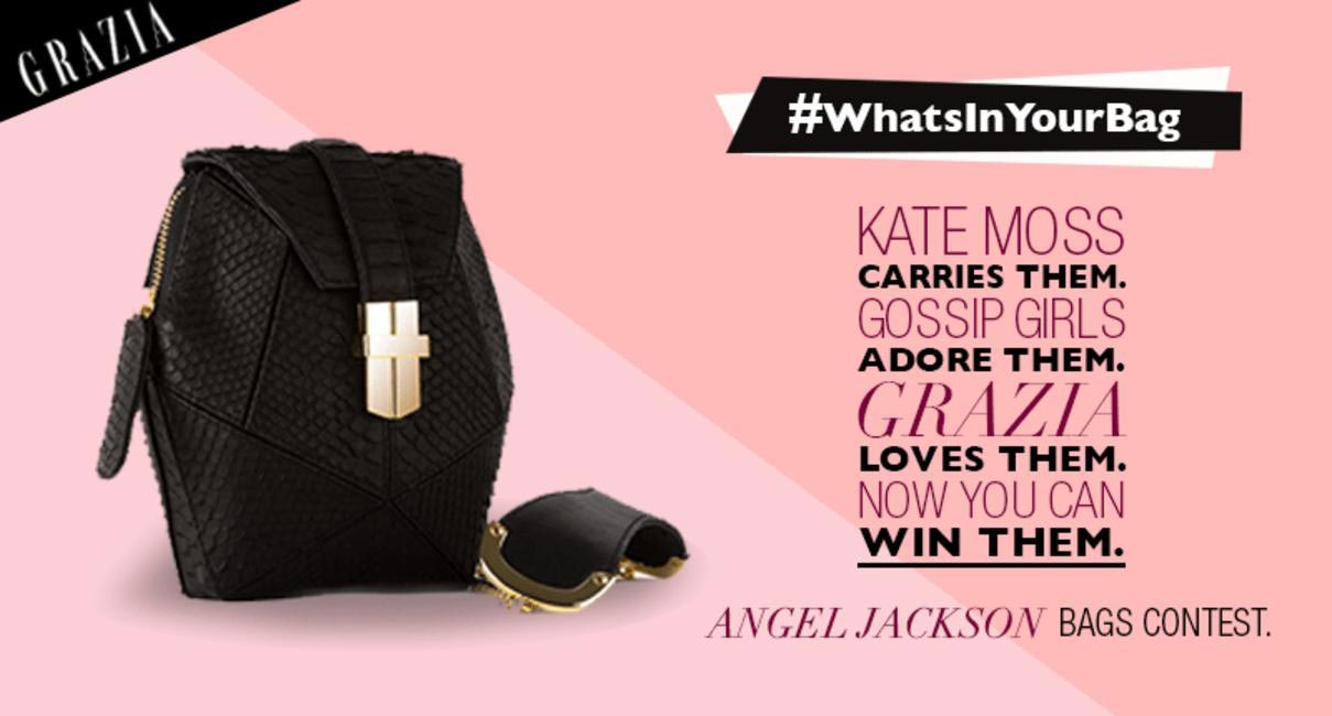 Grazia + Angel Jackson What's In Your Bag contest