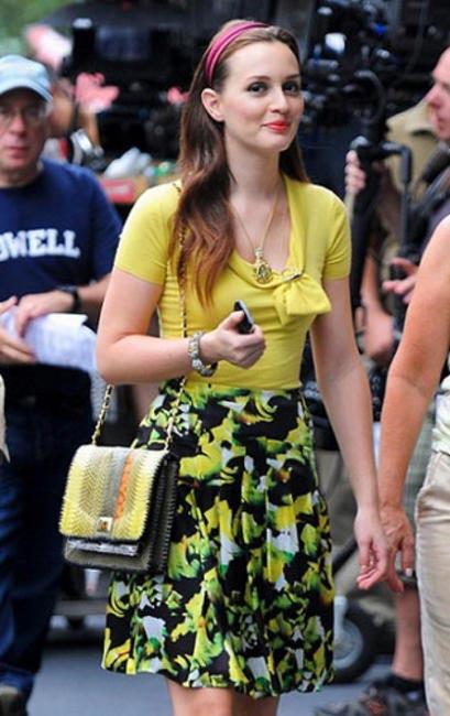 Leighton Meester (Blair Waldorf) rocked her Angel Jackson Jai Satchel in Tokyo Yellow
