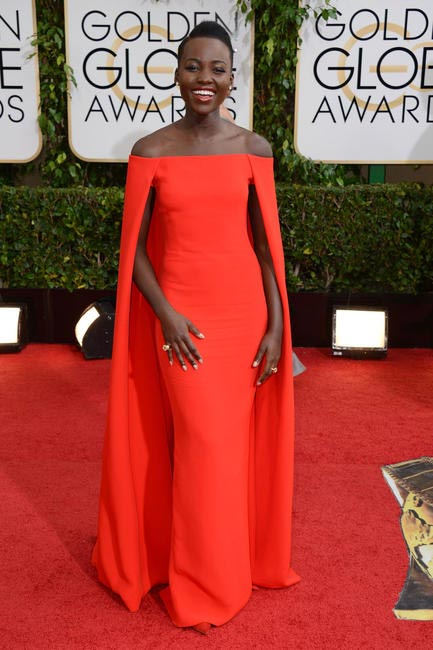 Lupita Nyong'o looked stunning in a red Ralph Lauren gown with an attached cape - 2014 Golden Globe Awards