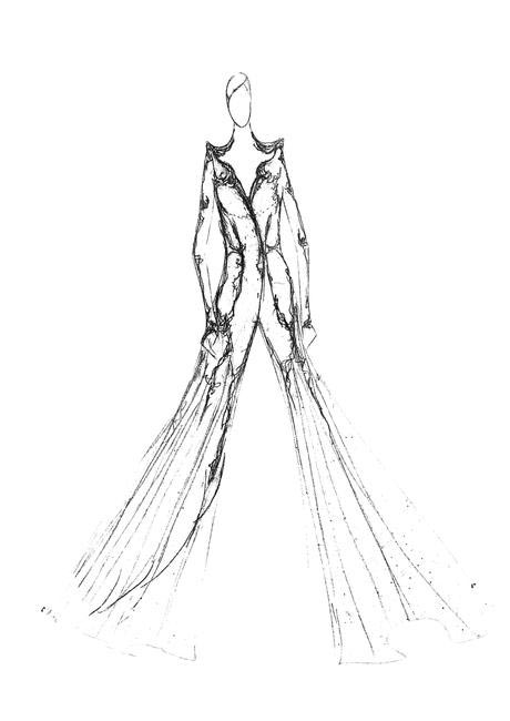 Couture sketch by Gaurav Gupta