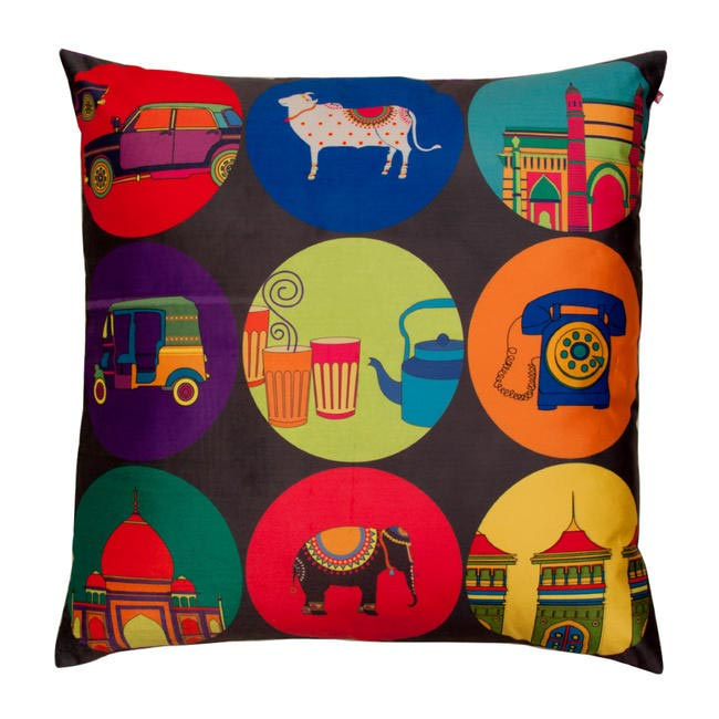 India Vibrant Poly Velvet Floor Cushion Cover, India Circus, INR 999