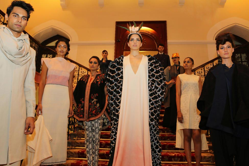Models showcase the designs for the Regional Woolmark Prize