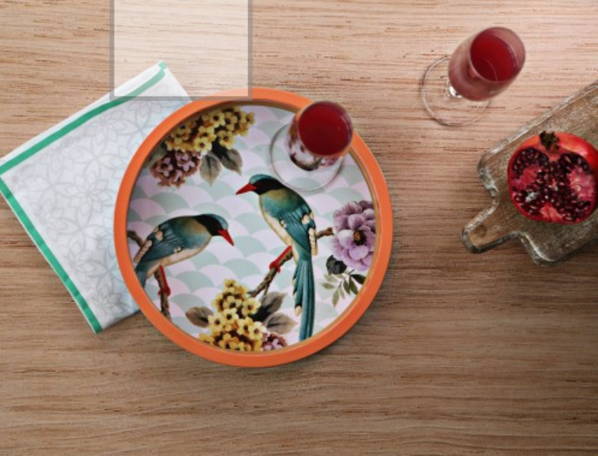 Tropical Bird Paradise Round Tray by Chalk & Cheese, The Home Label, INR 2,145
