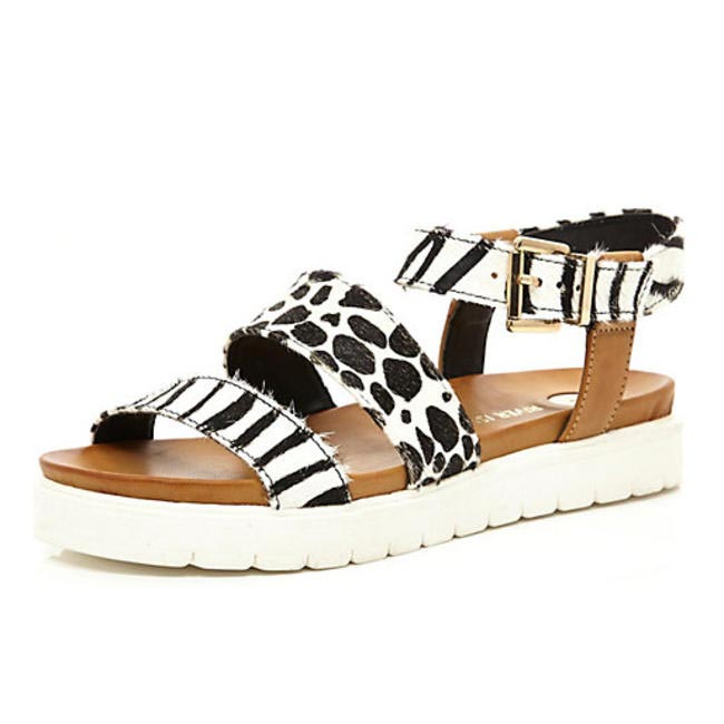 Black Animal Print Pony Hair Chunky Sandals, River Island
