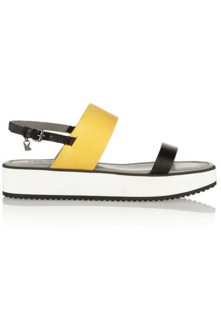 Colour-Block Matte-Leather Sandals, Karl Lagerfeld