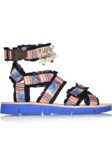 Embellished Printed Twill Sandals, MSGM