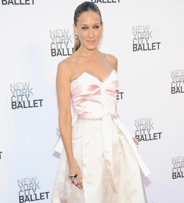 Sarah Jessica Parker at the New York city ballet wearing an elegant palm cuff