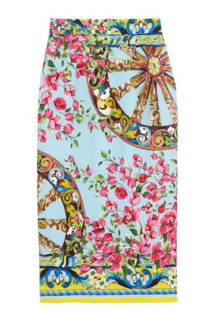 Dolce & Gabbana Printed stretch-silk crepe pencil skirt - Net-a-porter.com