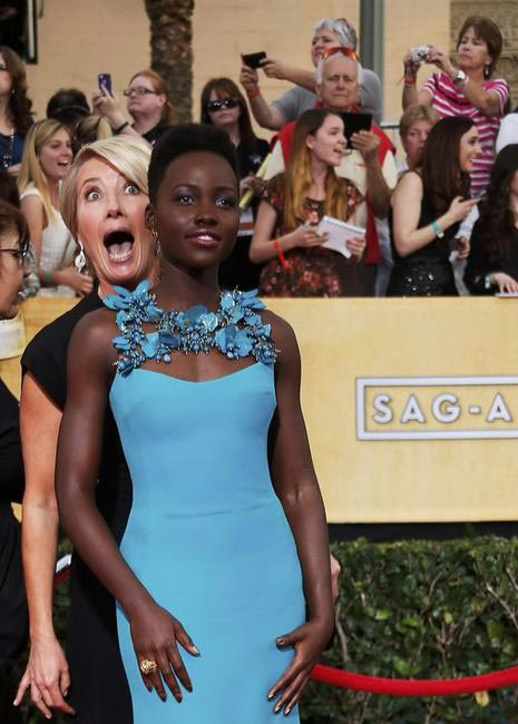 Emma Thompson and Lupita Nyongo - Celebs Who Photobomb