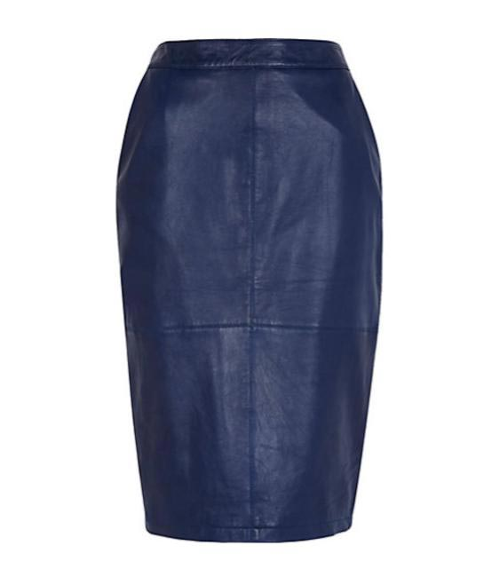 River Island Navy Leather Pencil Skirt - riverisland.com