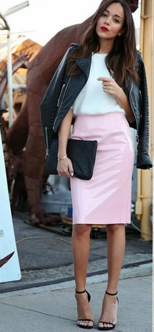 WEEKENDER -Ashley Madekwe wears high-waisted pencil skirt with a tucked in shirt