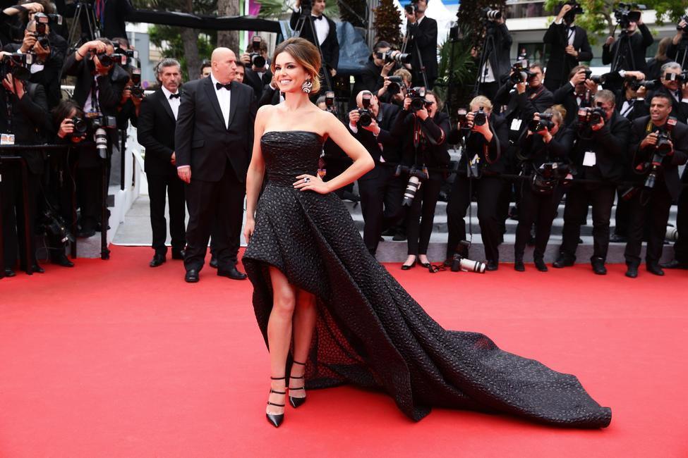Cheryl Cole in Monique Lhuillier at Cannes 2014. Photo - L'Oreal Paris