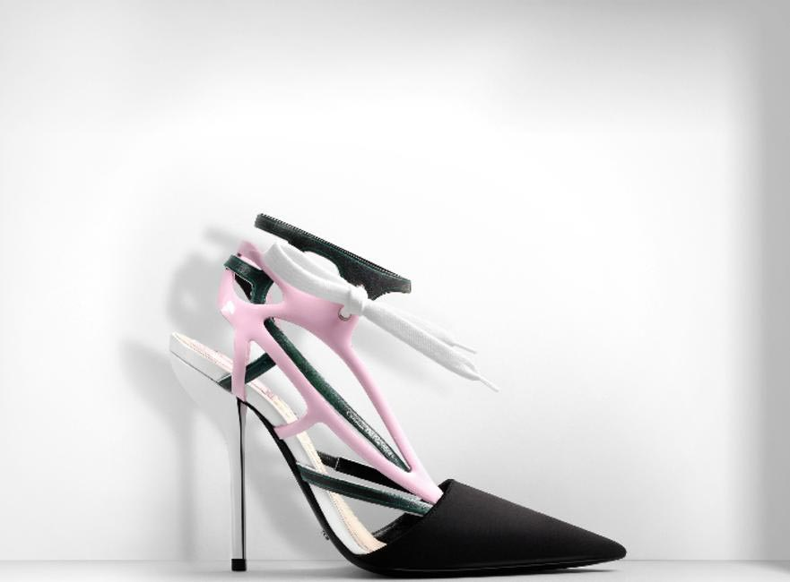 DIOR POINTED-TOE PUMP IN BLACK SATIN AND GREEN AND PINK LEATHER