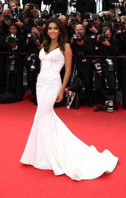Eva Longoriain Gabriela Cadena gown at Cannes 2014. Photo - L'Oreal Paris