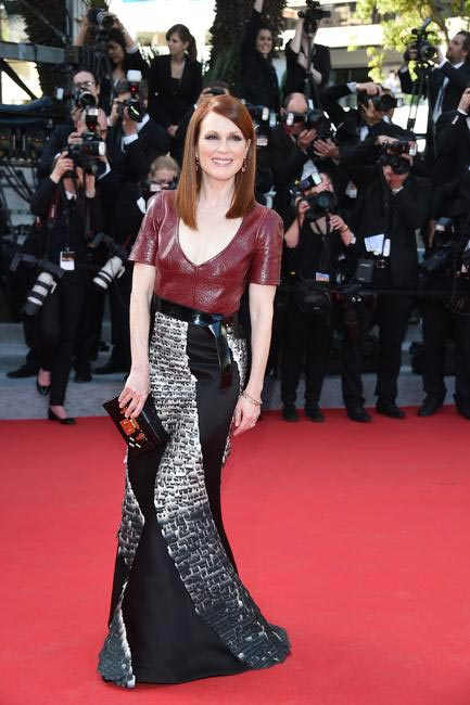 Julianne Moore in Louis Vuitton for Loreal Paris at Cannes 2014 Day 2. She attended the premiere of Mr Turner