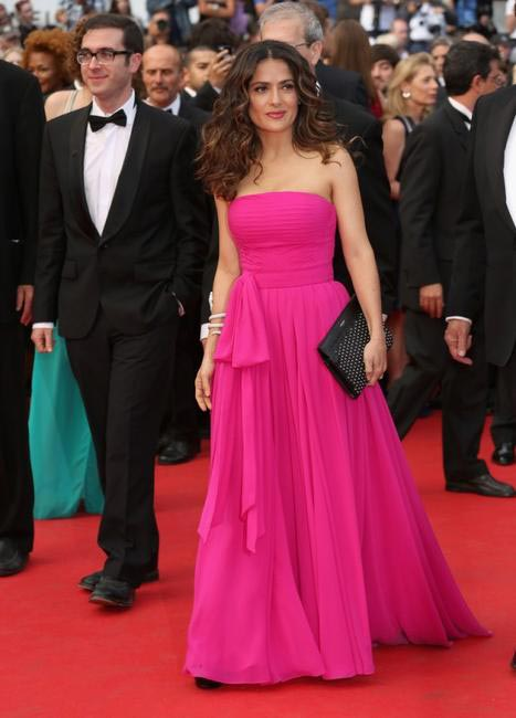Salma Hayek in Saint Laurent at the premiere of Saint Laurent at Cannes 2014