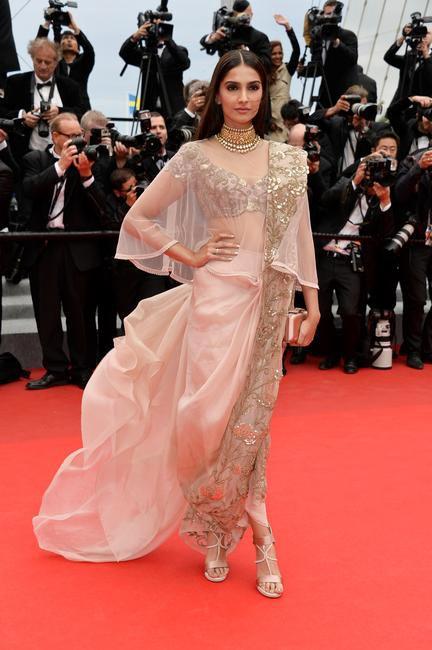 Sonam Kapoor in Anamika Khanna at Cannes 2014. Photo - L'Oreal Paris