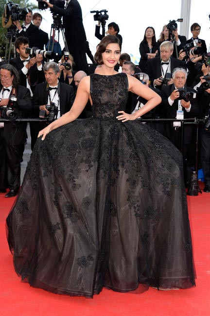 Sonam Kapoor in Elie Saab Couture at The Homesman Premier at Cannes 2014