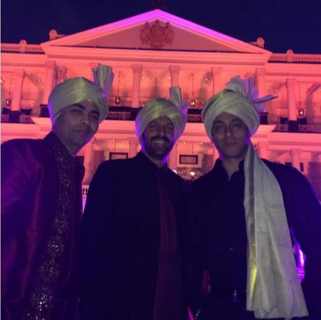 Karan Johar, Kabir Khan and Salman Khan in front of the Falaknuma Palace in Hyderabad