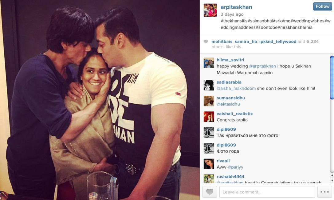 Shah Rukh Khan and brother Salman Khan plant a kiss on the bride