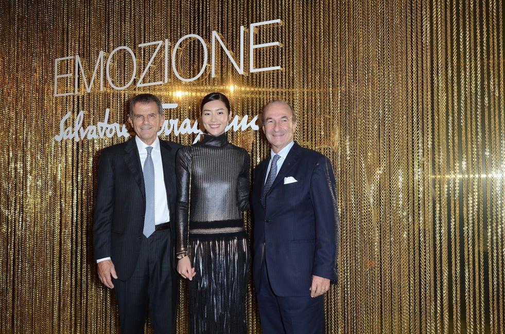 Ferruccio Ferragamo, Liu Wen and Michele Norsa