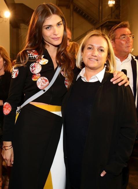Model and actress Elisa Sednaoui and Silvia Venturini Fendi at Fendi S_S 2015 Woman Fashion Show