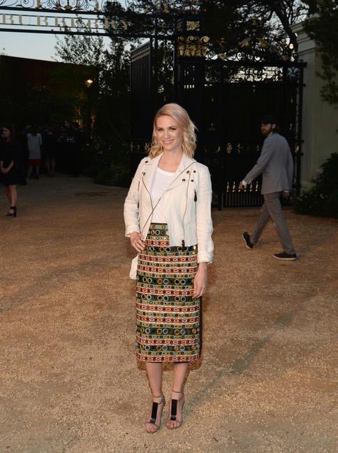 January Jones wearing Burberry at the Burberry London in Los Angeles event