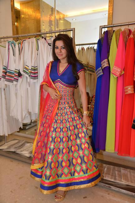 Kahkashan Patel dressed in an Abu Jani Sandeep Khosla creation