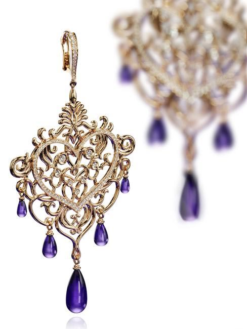 Gold and Amethyst Earrings, Chopard