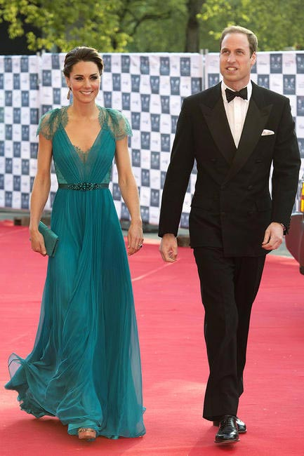 At BOA Olympic concert at Roayl Albert Hall, London in a Teal Jenny Packham dress with lace back, a royal up-do and finishing it off with Jimmy Choo...