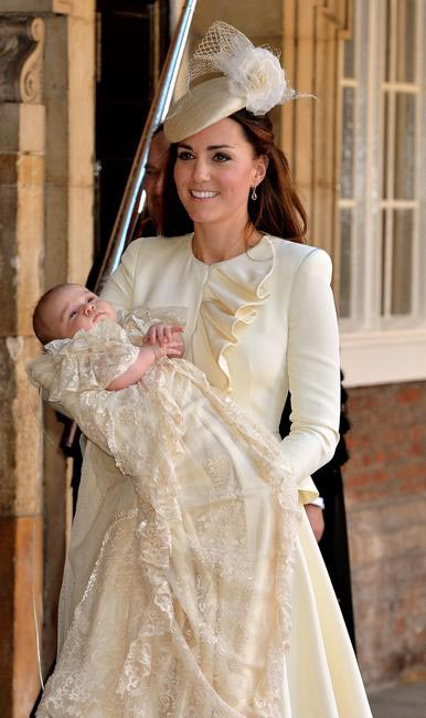 Prince George's christening, when Kate Middleton was dressed in an Alexander McQueen dress and Jane Taylor hat