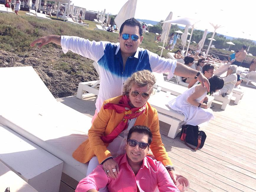 Rohit Gandhi (top) and Rahul Khanna (bottom) with Rohit Bal in Puglia, Italy