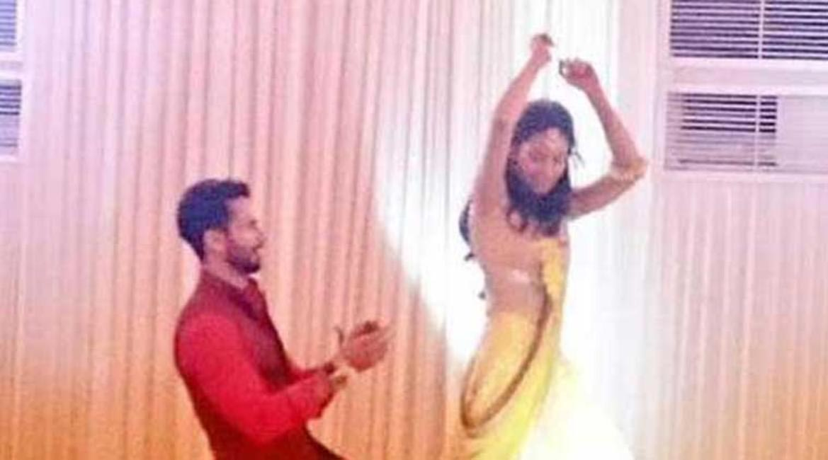 The couple at their sangeet