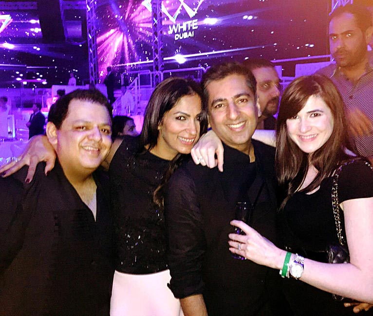 With friends at White, a chic club in Dubai