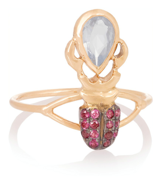 18ct rose gold, sapphire and ruby phalanx ring, Daniella Villegas, INR 2,16,977 (approx)