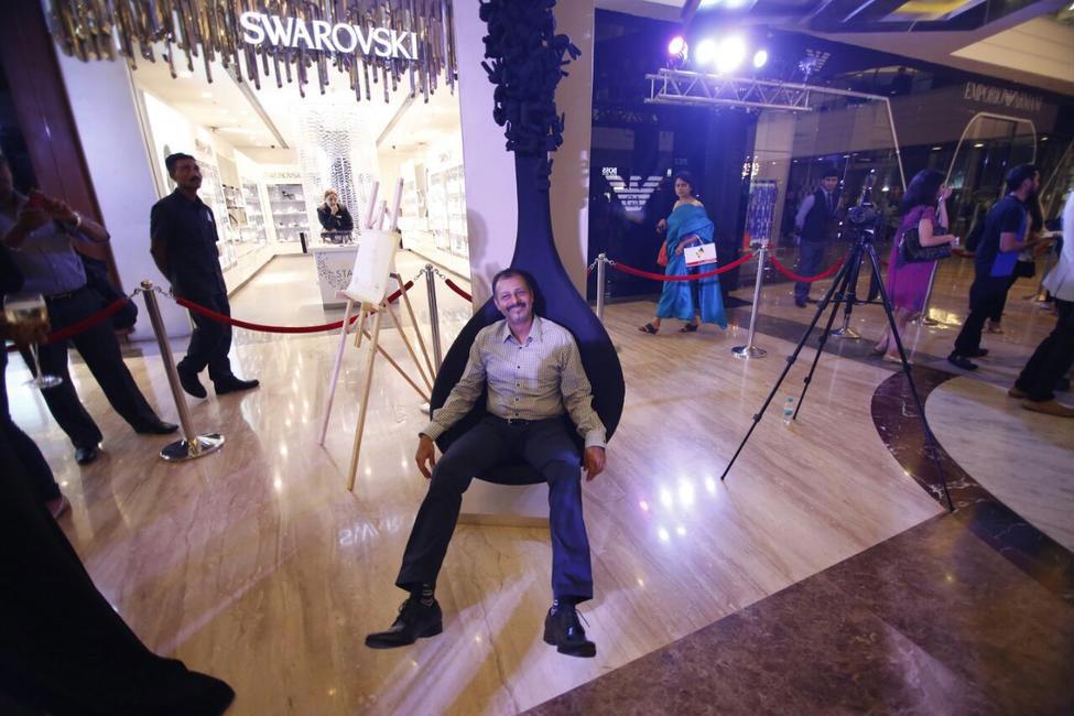 Atul Ruia on the Dot Chair by Lekha Washington