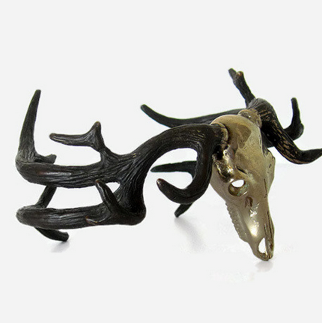 Deer stag skull antlers silver bangle, INR 4,736 (approx)