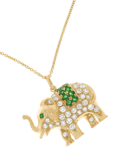 Elephant 18ct gold, diamond and emerald necklace, Anita Ko, INR 716,125 (approx)